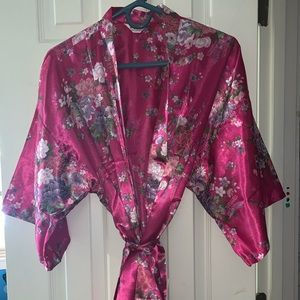 Silky Pink Floral Robe